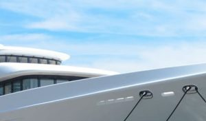 White Yacht paint on a boat hull