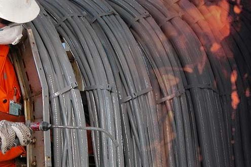 fire-retardant-paint on steel cables