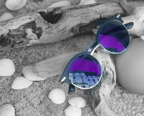 anti reflection coatings come in many colours, here the purple one