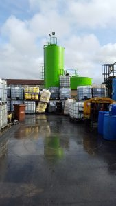 chemical resistant coating in a storage area