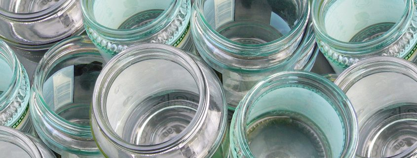 packaging coating on empty glass jars